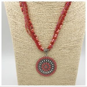 Pink and Silver Beaded Statement Circle Necklace